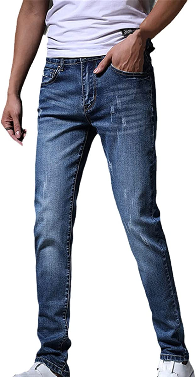 Fashionable Men's Jeans Light Color Stretch Jeans Casual Straight Slim Multicolor Skinny Jeans Cotton Trousers