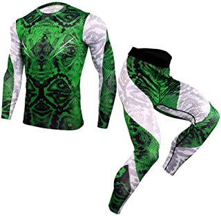 Men's Running Suit Compression Tights T-Shirt Sport Men's Sportswear Thermal Underwear Shirt Gym Fitness Training,Green,XXXL