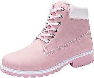7d48f27f135 WUIWUIYU Men s Women s High-Top Lace Up Ankle Boots Combat Booties Outdoor  Walking Hiking Trekking