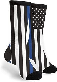 Unisex Fun Novelty Crazy Crew Socks Blue Lives Matter Police Blue Line Us Flag Dress Socks