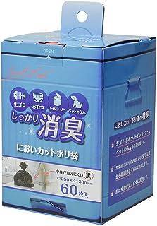 ストリックスデザイン しっかり 消臭 においカットポリ袋 黒 38×25cm 0.013mm 生ごみや おむつ トイレコーナー ペットのお散歩時の ゴミ袋 60枚入