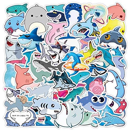 ZIWEI Etiqueta engomada del tiburón de dibujos animados lindo océano peces maleta portátil personalidad pequeña etiqueta engomada guitarra etiqueta engomada 50pcs