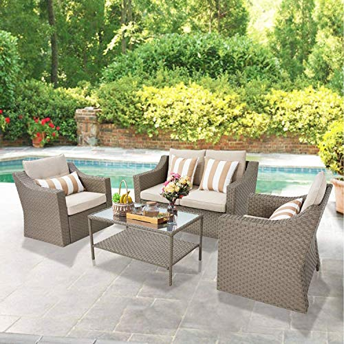 SOLAURA Outdoor Patio Furniture Set 4-Piece Conversation Set All Weather Wicker Furniture Sofa Set with Sophisticated Glass Coffee Table-Gray