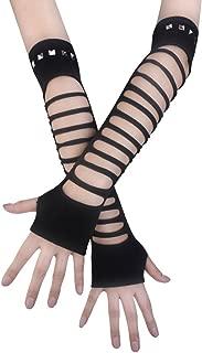 JISEN Punk Studded Ripped Torn Knitted Soft Arm Warmer Fingerless Gloves Black