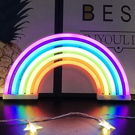 Veilleuse arc-en-ciel pour enfants Cadeau de Noël LED arc-en-ciel Neon Signs Lampe pour décoration murale, décoration de chambre à coucher, accessoires de maison, fête, décoration de vacances