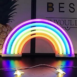 Veilleuse arc-en-ciel pour enfants Cadeau de Noël LED arc-en-ciel Neon Signs Lampe pour décoration murale, décoration de c...