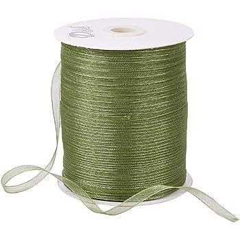 BENECREAT 全長500ヤード約457mオーガンジーリボン 幅6mm 透明リボン オーガンザ 祝日装飾 ラッピング 装飾用 手工芸 草緑