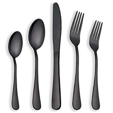 Berglander Flatware Set Shiny Black Gold, 20 Piece Black Flatware, 20 Piece Black Titanium Flatware, 20 Piece Black Gold Plated Stainless Steel Silverware Set Cutlery Sets, Service for 4(Shiny Black)