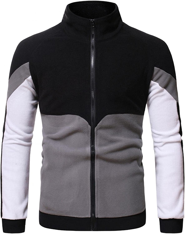 Hoodies for Mens Mens Casual Color Block Sweatshirt St& Collar Mens Zip Up Hoodies Cardigan Mens Hoodies & Sweatshirt