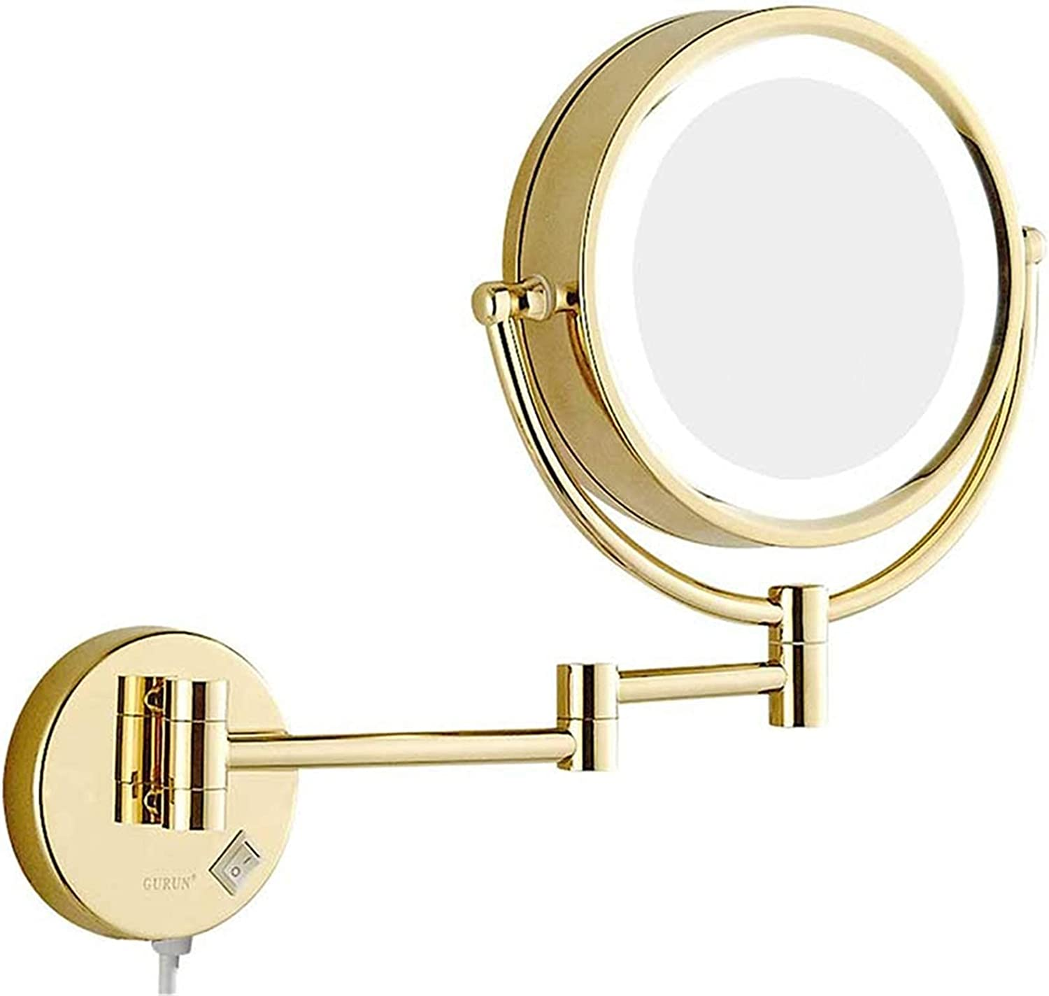 Gold Bombing free shipping Wall-Mounted Makeup safety Mirror 8 Sided Magnifying Double Inch