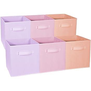 Sorbus Foldable Storage Cube Basket Bin - Great for Nursery, Playroom, Closet, Home Organization (Multi - Pink Orange Purple, 6 Pack)