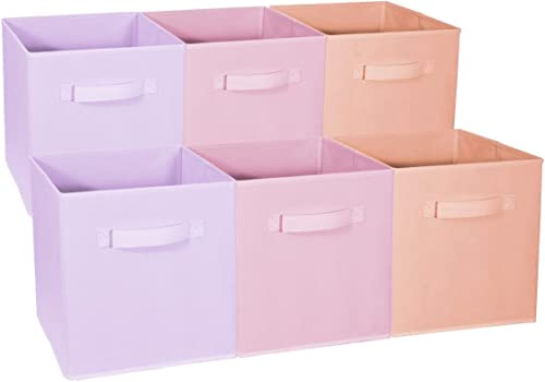 Sorbus Foldable Storage Cube Basket Bin - Great for Nursery, Playroom, Closet, Home Organization (Multi - Pink Orange...