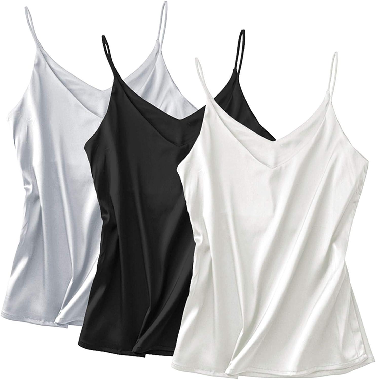 Chicago Mall Miqieer Basic 3 Pack Genuine Women's Silk Ladies Camisol Tank Top V-Neck