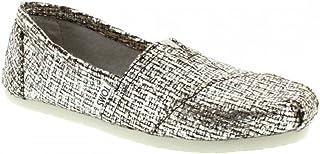 TOMS Women`s Crochet Classic Slip-on (5.5 B(M) US, Silver Glitter Wool)