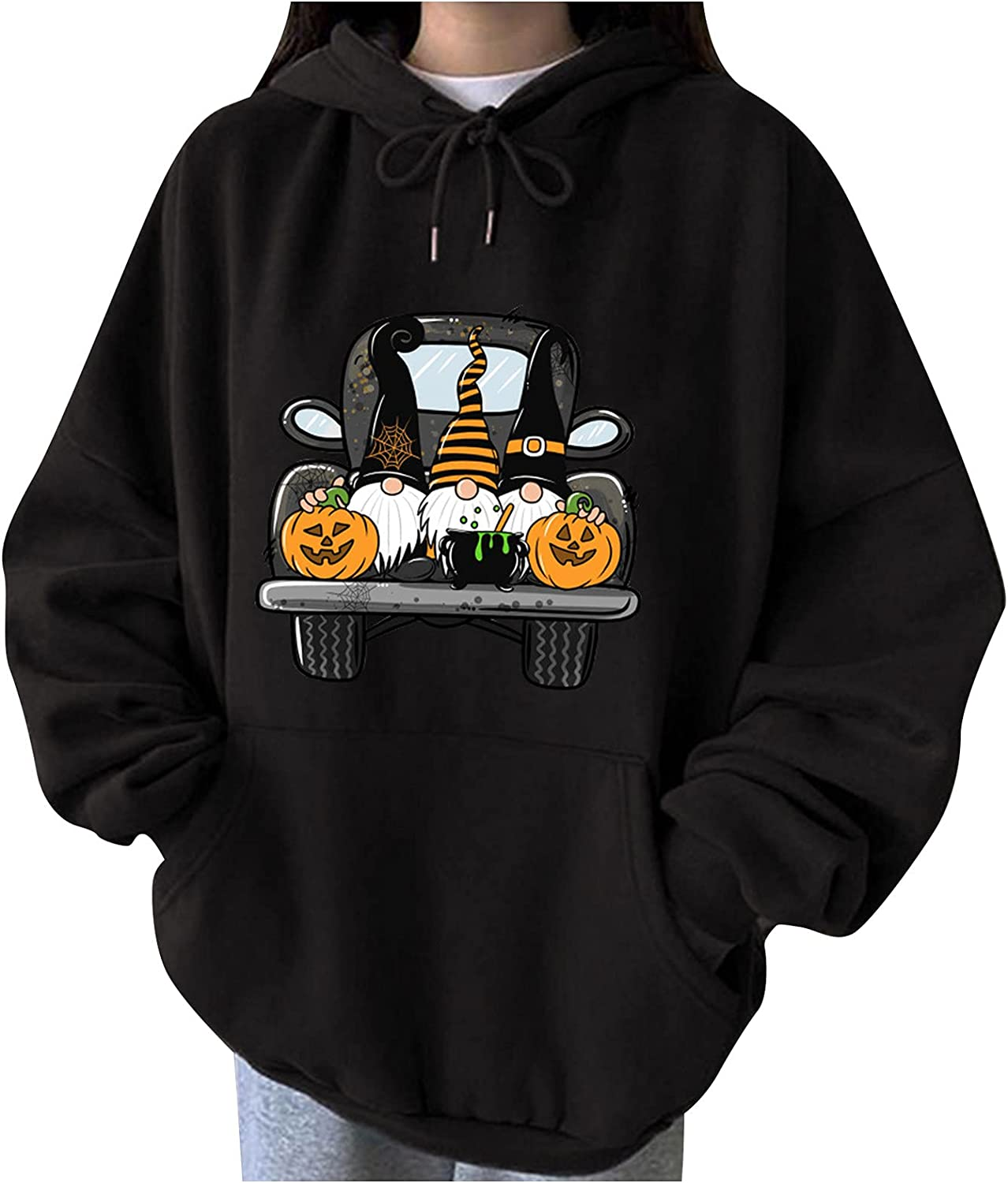 Couples Plus Size Halloween Sweatshirts, Funny Graphic Casual Blouse Long Batwing Sleeve Hide Belly Fall Pullover Tops