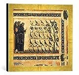 Kunst für Alle '–Fotografía enmarcada de San Francisco Meister La Sagrada Franz de Assisi Sermón a los Pájaros, de impresión handgefertigten imágenes de Marco, 40x 30cm, Oro Raya