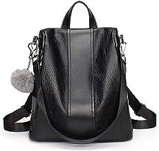 Swonuk Anti-robo Mujer Mochila Impermeable Cuero PU Señoras Mochilas Escolares Bolsa de viaje, Negro