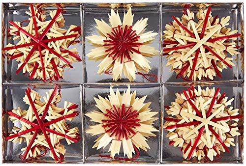 HEITMANN DECO Noël - Set de 16 décorations de Noël à Suspendre en Paille et matériaux naturels à détails Rouges - Décorations de Sapin de Noël