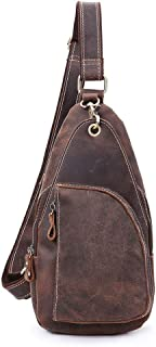 Mens Waterproof Chest Bag Cross Body Bag,Cycling Shoulder Messenger Backpack (Color : Brown, Size : M)