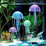 Jainsons Pet Products Aquarium Glowing Artificial Silicon Jelly Fish Tank Ornament Decoration (Blue)