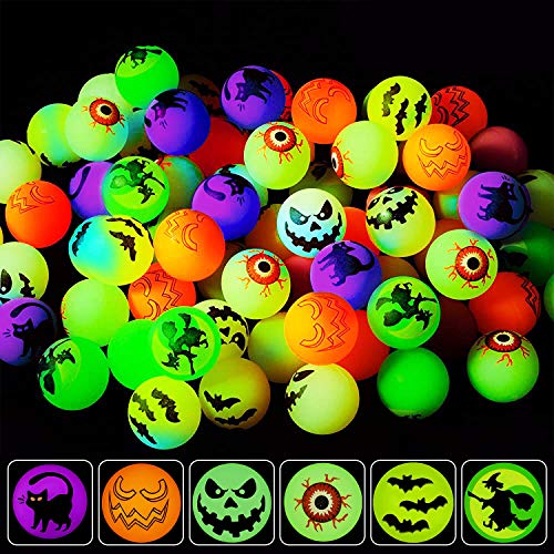 Taocco 45 Pieces Halloween Bouncing Balls,6 Halloween Theme Designs Glow in The Dark Bouncy Toys Balls,Halloween Party Favor Supplies,School Classroom Game Rewards,Trick or Treat Party Bag Filler