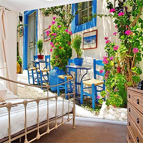 JIYOTTF 3D Fototapete Strandfenster Aufkleber WandbildPastorale florale botanische landschaftliche(W 250 x H 175cm) 3D Wallpaper Modern Murals Wohnzimmer Schlafzimmer Home Decor Selbstklebende wasser