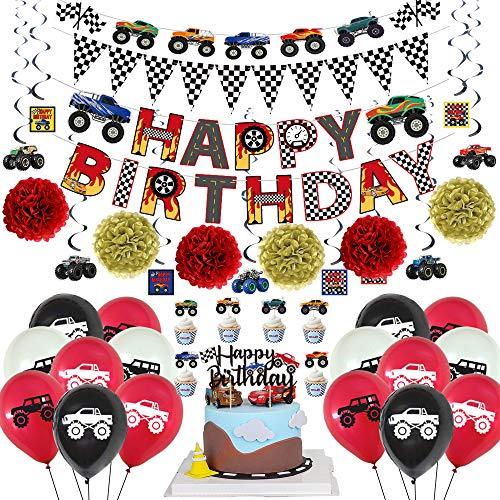 AUSDU Monster-Truck-Geburtstagsparty-Zubehör – Happy Birthday & Monster Truck Banner – Dreieckige Wimpelkette Flaggen – Pom Poms Blumen zum Aufhängen – Wirbelkarten – Luftballons – Cupcake Topper
