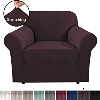 H.VERSAILTEX Stretch Sofa Cover 1 Piece Skid Resistance Furniture Protector Cover Jacquard Spandex Couch Covers Armchair Slipcover, Form Fitted Chair Slipcovers - Chocolate, Chair (1 Seater)