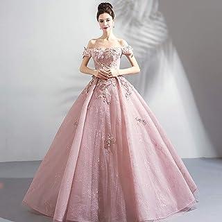 W&TT Mujeres con Cuentas appliquer Rosa Puffy Ball Prom Vestido Novia de Hombro Bordado Vestido de Flores Quinceanera Vestidos,Pink,XS