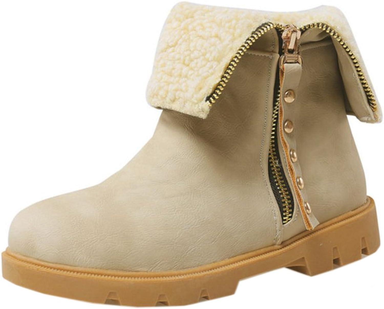 TAOFFEN Women's Warm Lining Boots Zipper