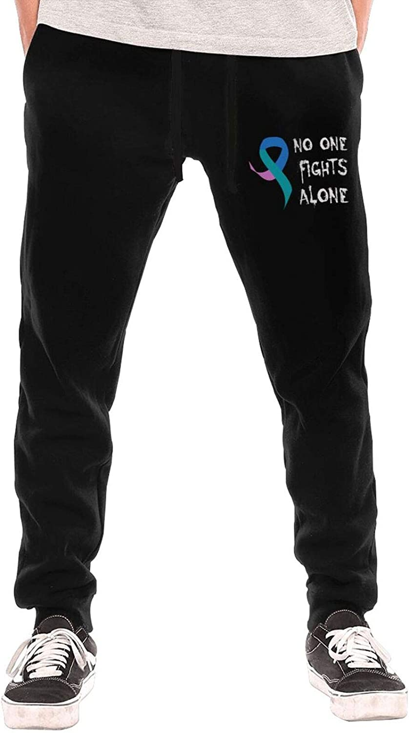Max 54% OFF No One Fights Alone Thyroid Cancer Sweatp Now on sale Jogger Men's Awareness