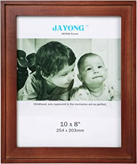 JAYONG 8x10 Picture Frame Made of Solid Wood and High Tempered Glass Elegant Photo Display for Tabletop Picture Frame for Wall Mount Photo Frame Back Panel Curved Edges Flat Frame Retro Brown