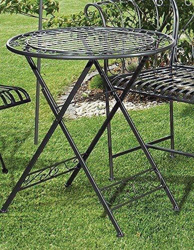 Linoows Métal Table de Jardin Bari, Table Pliante, Table Dans Style Rétro , Anthracite