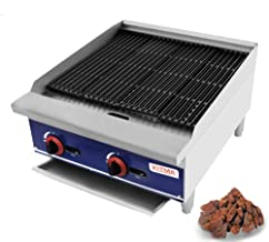 Commercial Countertop 24'' Gas Lava Rock Charbroiler - KITMA Stainless Steel Flat Top Char Rock Broiler with Grill - Restaurant Equipment, 70,000 BTU