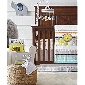 Wendy Bellissimo 4pc Nursery Bedding Baby Crib Bedding Set – Elephant Crib Bedding from The Sawyer Collection in Grey and Turquoise