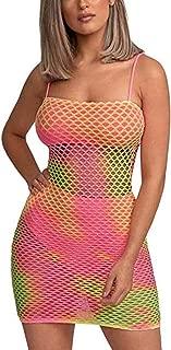 C.C-US Women's Sexy Bodycon Mesh Spaghetti Strap Slip Dress Mini Dresses for Rave Party Clubwear