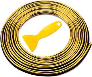 Car Interior Trim Strip Ashero 3D DIY Automobile Motor Exterior Decoration Moulding Trim Strip Line - 5meters (Gold)