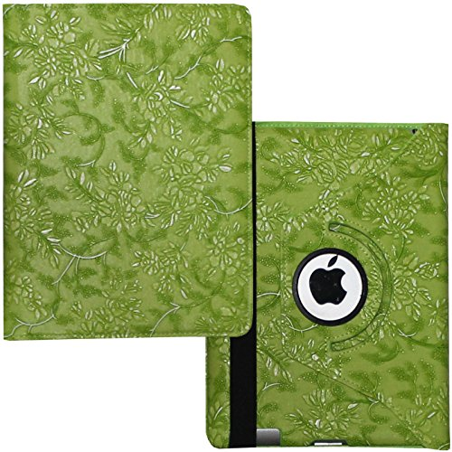 Case for iPad 2nd 3rd 4th Generation, Fit Model A1395 A1396 A1397 A1416 A1430 A1403 A1458 A1459 A1460 – Lingsor Smart Cover Case Rotating Stand Support Wake up Sleep, Embossed Green Flower