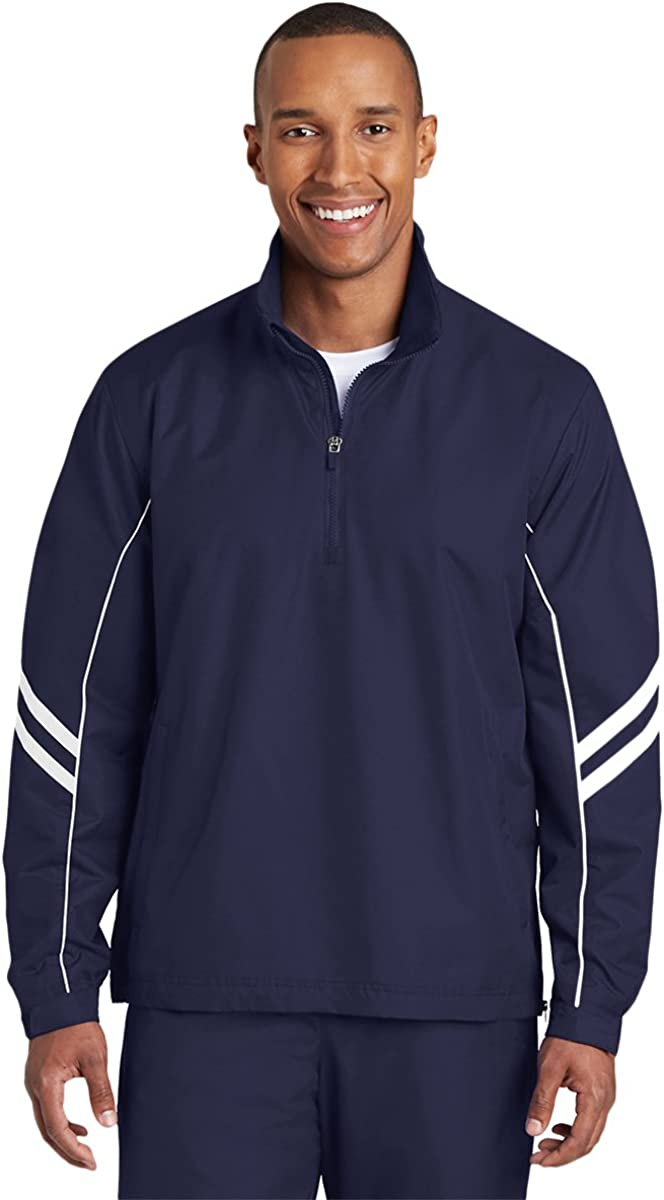 Sport-Tek Mens Shield Ripstop 1/2-Zip Pullover (JST84), True Navy/ White, 2X-Large