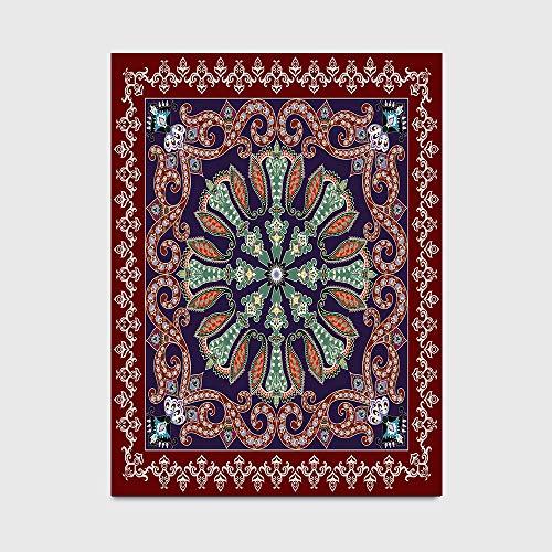Großer Teppich Böhmisches Rotbraunes Dunkelblaues Muster Im Ethnischen Stil Teppiche Kleine Sofamatte Abdeckung Boden Teppichunterlage Für Küche Schlafzimmer Badezimmer Wohnzimmer,150*200cm(59x79inch)