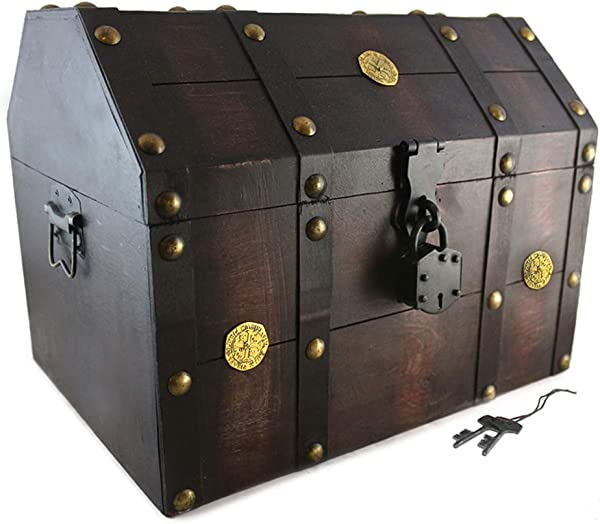 Treasure Chest Pirate 16x 12x 12 Lock Skeleton Keys Doubloon Accents In Antique Cherry Stain By Well Pack Box Extra Large