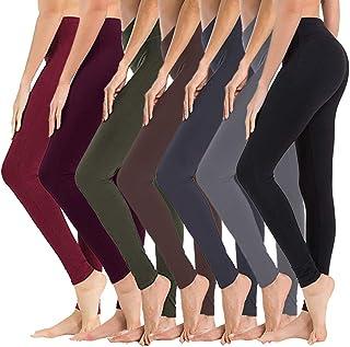 7 Pack High Waisted Leggings for Women - Soft Athletic...