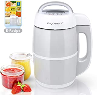 Aigostar Beanbaby 30IMW - 6 funciones en 1. Máquina de leche vegetal, mermeladas, batidos, cremas o sopas. 952 W, 1,7 litros, función mantener caliente. Libre de BPA. Con Recetas descargables.