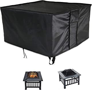 POMER Fire Pit Cover Square 30x30x13inch - Heavy Duty Waterproof & Anti-UV Fabric Outdoor Furniture Cover with Buckles & D...