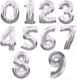 16/32/40 Inch Number Foil Balloon Large Rainbow Digital Balloons Birthday Party Decor Kids,Silver,number 2,40inch
