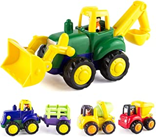 KidPal Baby Toy Car for Toddlers Baby -Toy for -1 2+ -Years -Old Boy & Girl Push and Go Car, 4 Sets Tractor, Truck, Dumper, Bulldozer Friction Powered Car, Role-Play Fun Toy Gifts for 18M 20M 24M+