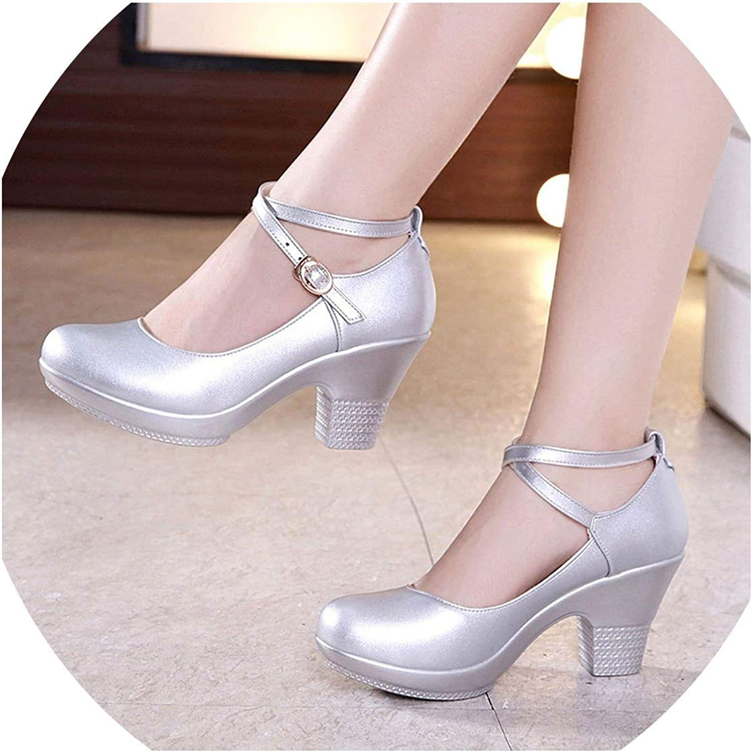 Pleasantlyday Women Pumps with High Heels Dancing Platform Genuine Leather