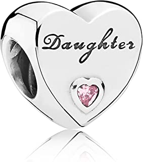 Daughter'S Love Charm, Sterling Silver, Pink Cubic Zirconia, One Size