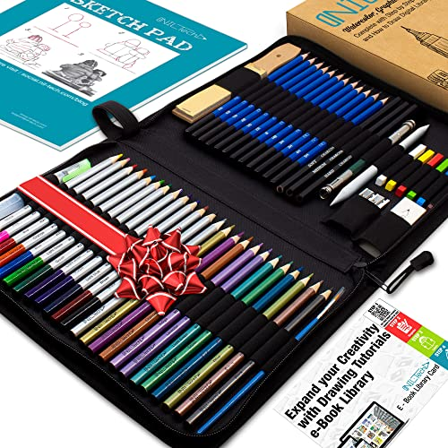 Watercolor Pencils Art Supplies – 54pc Colored Pencils for Adults, Kids, Artists Includes Bonus Digital Ebook Library Of Drawing Tutorials and Sketchbook For Drawing, Charcoal Pencils, and Color Pastels