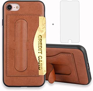 Asuwish iPhone 7 8 7s 8s Case i Marble Phone Case Leather Wallet Silicone with Credit Card Holder Slot Screen Protector Stand Women Girls Men Protective Cover for Apple iPhone7 iPhone8 4.7 inch Brown